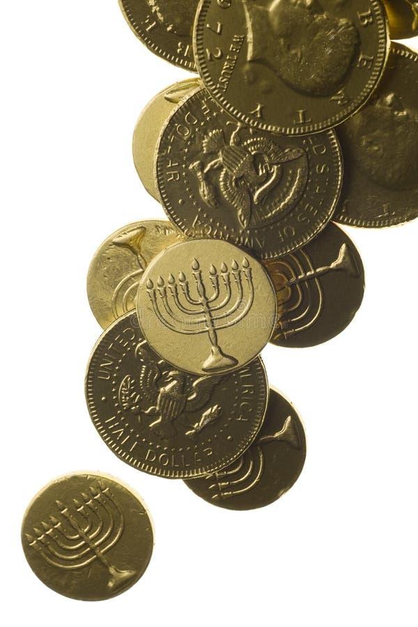 Hanukkah gelt isolated on white stock photos