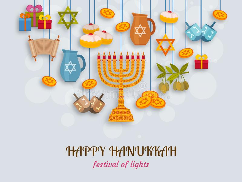 Hanukkah greeting card with Torah, menorah and dreidels. Place for your Text vector illustration