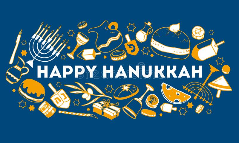 Hanukkah greeting design template. Traditional objects and food with wishing. Hand drawn outline vector sketch illustration vector illustration