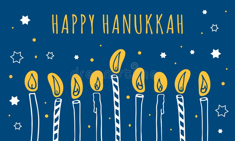 Hanukkah greeting template. Nine candles and wishing. Hand drawn sketch illustration vector illustration