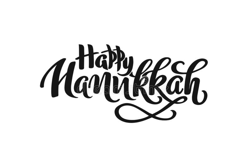 Hanukkah hand drawn lettering concept for designing holiday greeting card, poster, banner, logo, icon, invitation for Jewish holid. Ay Hanukkah event. Winter vector illustration