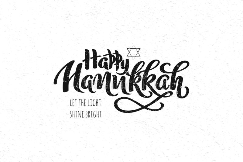 Hanukkah hand drawn lettering concept for designing holiday greeting card, poster, banner, logo, icon, invitation for Jewish holid. Ay Hanukkah event. Winter stock illustration
