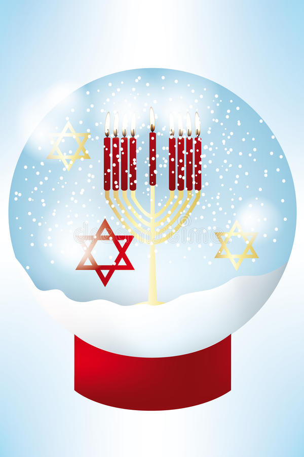 Hanukkah holiday card. Nine burning candles in golden jewish hanukkah candle holder and stars of David inside a snow globe - eps 10 vectors royalty free illustration