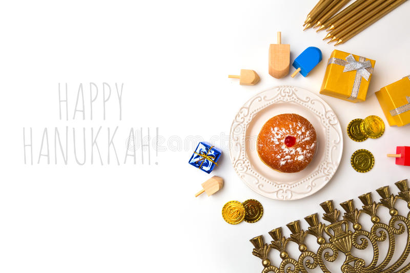 Hanukkah holiday objects on white background. View from above royalty free stock photos