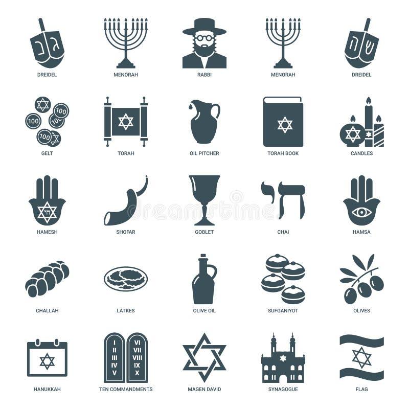 Hanukkah icons set, judaism symbols collection. Hanukkah jewish holiday icons set. traditional judaism symbols collection: dreidel, torah, menorah, david star royalty free illustration