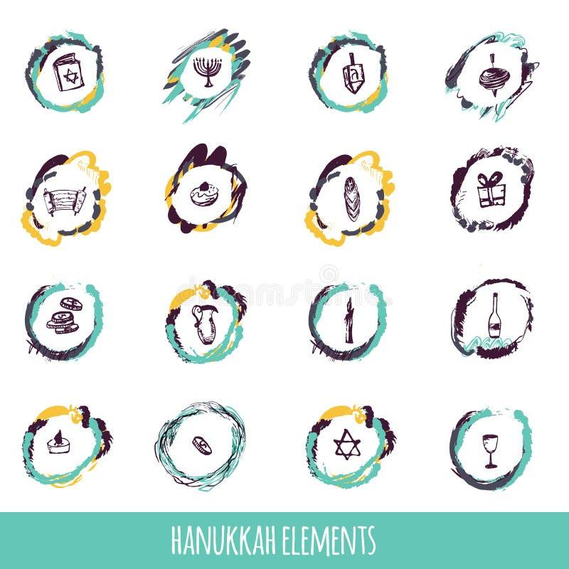Hanukkah ikon duży set w ręka rysującym stylu wliczając menorah royalty ilustracja