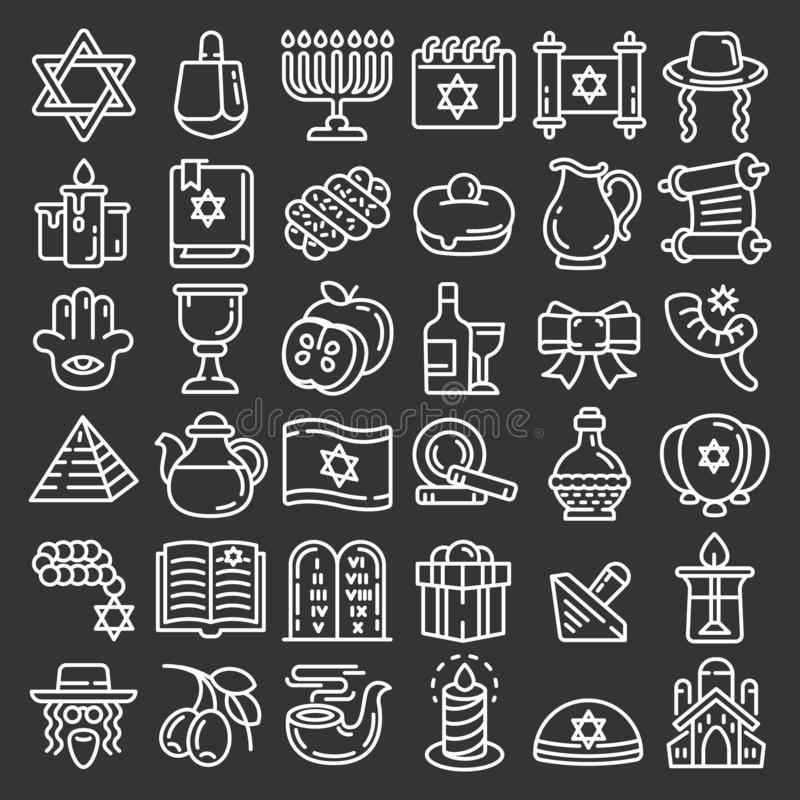 Hanukkah ikony set, konturu styl ilustracji