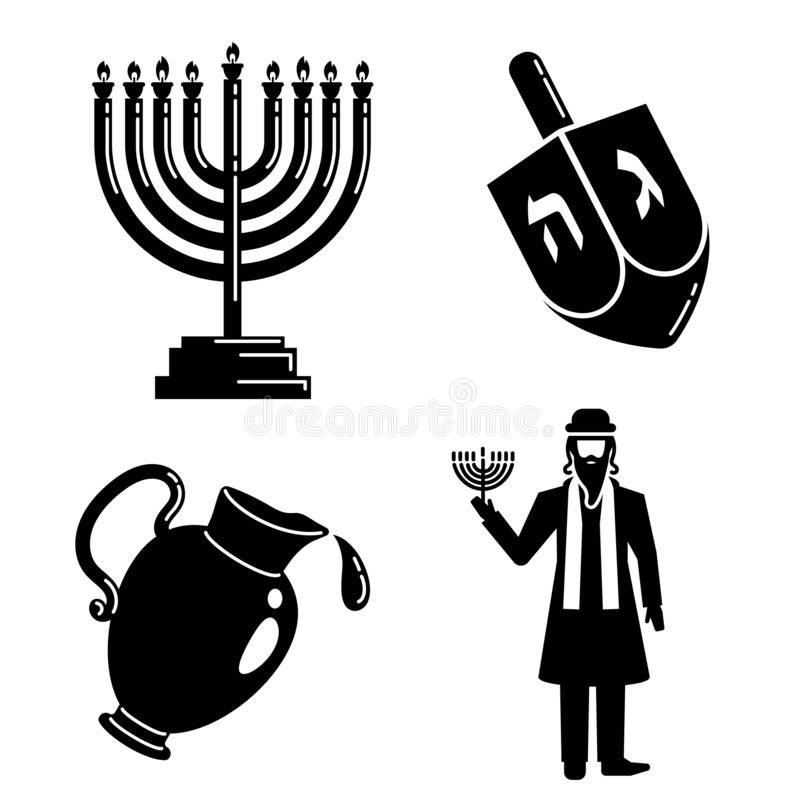 Hanukkah ikony set, prosty styl ilustracji