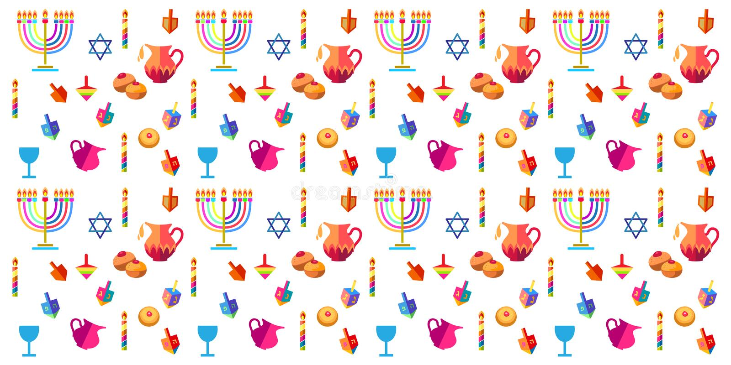 Hanukkah. Jewish holiday Hanukkah seamless pattern. Hanuka background with traditional Chanukah symbols - wooden dreidels spinning top, donuts, menorah, candles stock illustration