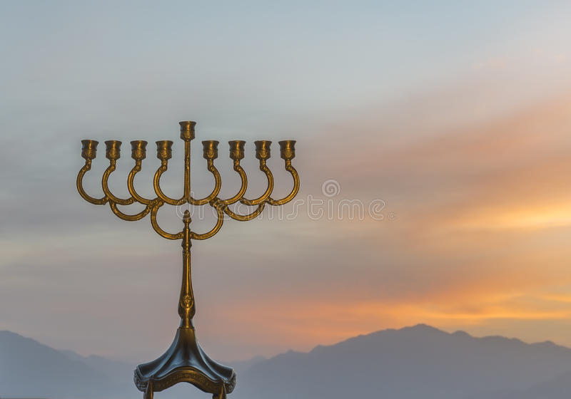 Hanukkah Jewish holiday symbol. Menorah is a traditional Jewish attributes for Hanukkah holiday. Selective focus royalty free stock images
