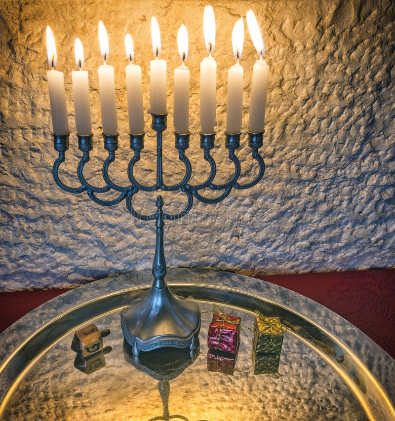 Hanukkah Jewish holiday symbols royalty free stock photos