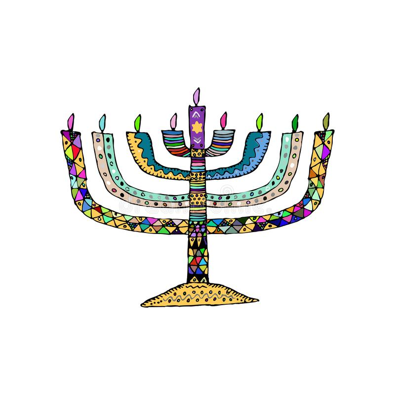 Hanukkah. Jewish religious holiday. Chanukah candle colorful. Multi-colored stained. Doodle, hand draw sketch Vector royalty free illustration