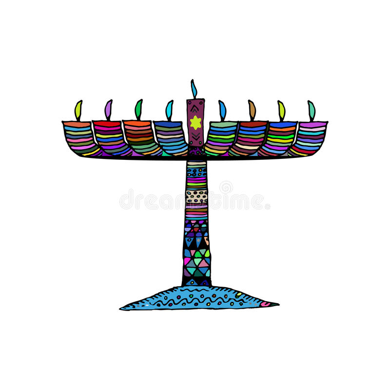 Hanukkah. Jewish religious holiday. Chanukah candle colorful. Multi-colored stained. Doodle, zentangl, hand draw sketch vector illustration