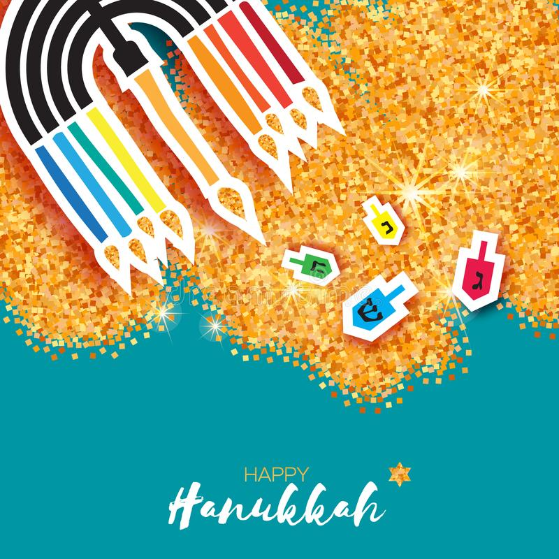 Hanukkah juish vector illustration. jewish menorah simple vector icon. hanuka candles symbol. Colorful Origami Happy Hanukkah Greeting card on gold glitter stock illustration