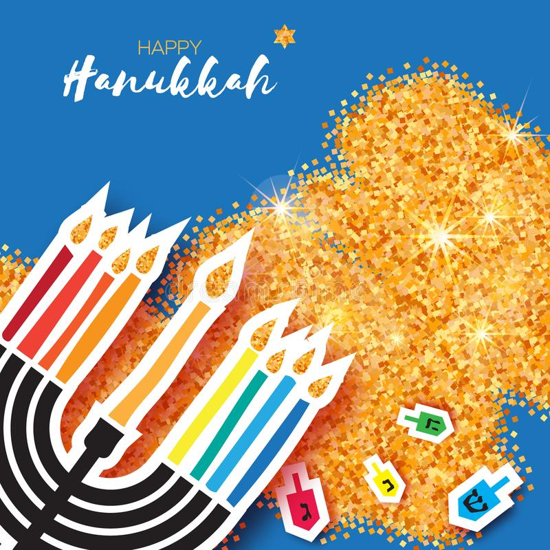 Hanukkah juish vector illustration. jewish menorah simple vector icon. hanuka candles symbol. Colorful Origami Happy Hanukkah Greeting card on gold glitter royalty free illustration
