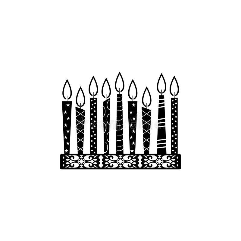 hanukkah kaarsenpictogram Element van hanukkahpictogram voor mobiele concept en webtoepassingen Het gedetailleerde hanukkah kaars stock illustratie