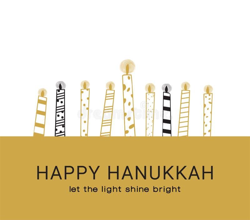Hanukkah kartka z pozdrowieniami, Żydowscy wakacyjni symbole złoty Hanukkah menora, świeczki i ilustracji