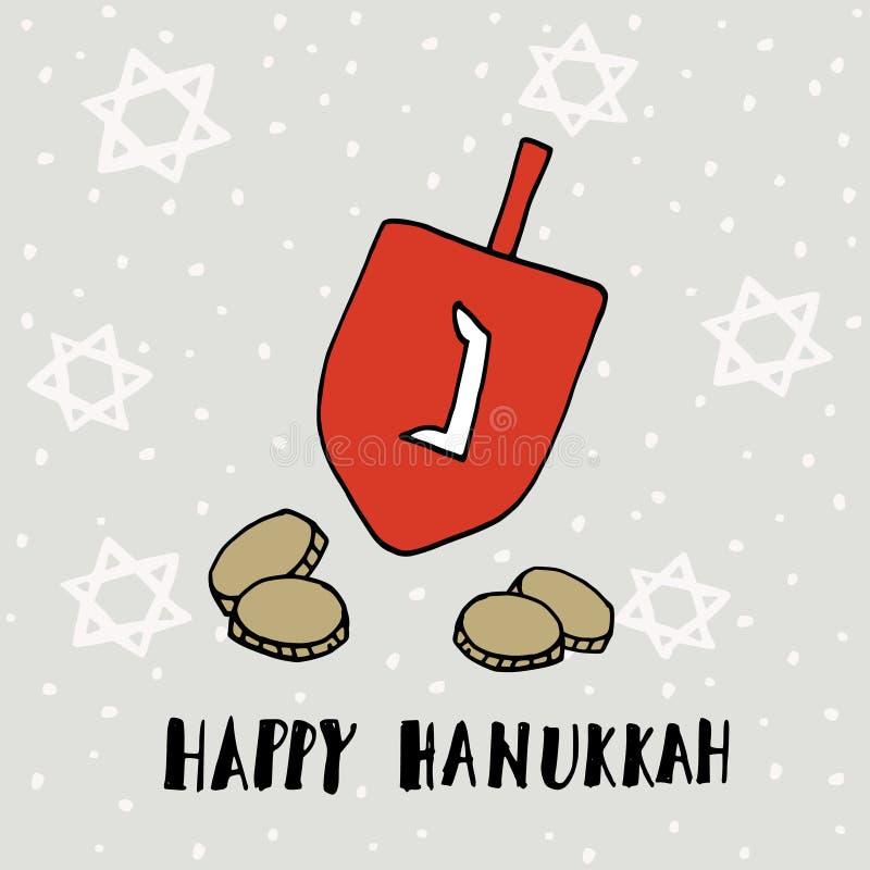 Hanukkah kartka z pozdrowieniami z ręka rysującym dreidle, monetami i żydowskimi gwiazdami, wektor royalty ilustracja