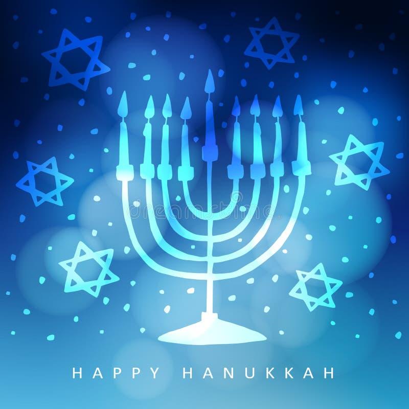 Hanukkah kartka z pozdrowieniami, zaproszenie z ręka rysującym menorah, kandelabry i żydowskie gwiazdy, royalty ilustracja