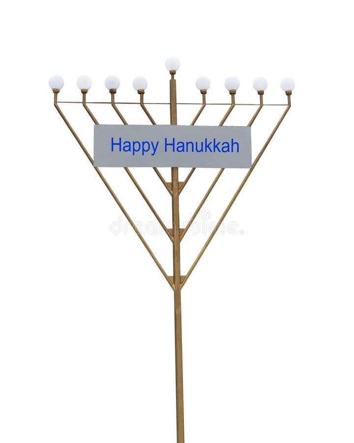 Hanukkah menora żelaza symbol z żarówkami odizolowywać na białym tle zdjęcia stock