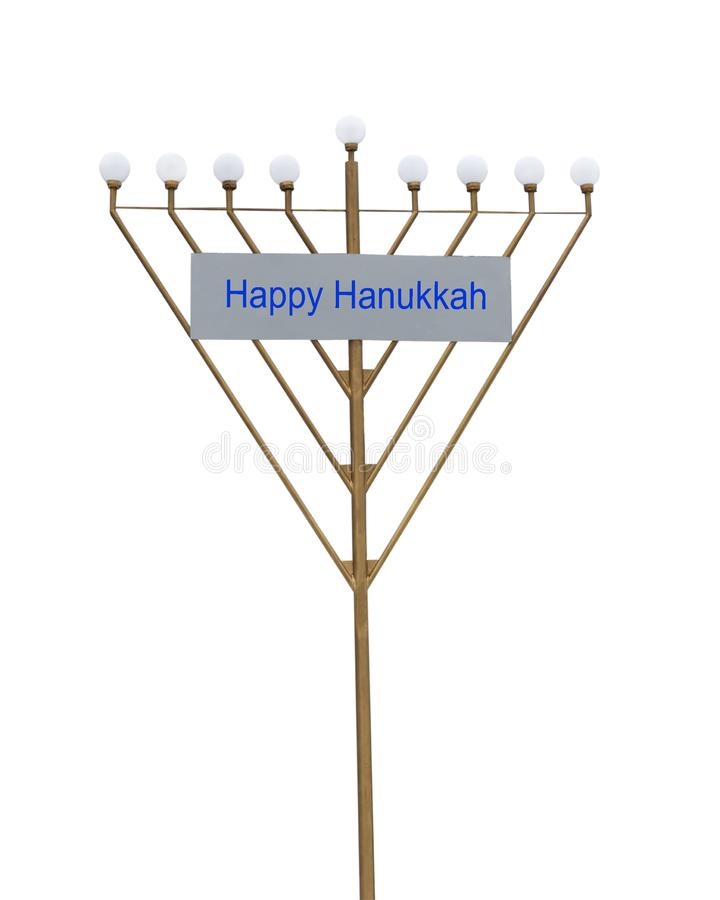 Hanukkah menora iron symbol with bulbs isolated on white background. December jewish holiday concept. Hanukkah menora stock photos