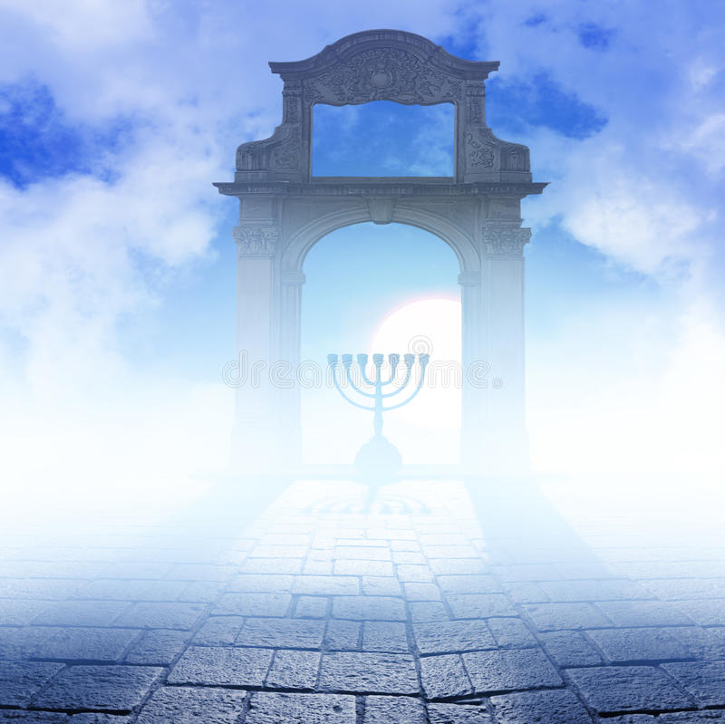 A Hanukkah Menorah on art background. Silhouette of jewish lightstand called Menorah . Symbol of winter light festival called Hanuka ( Hanukka , Chanukkah royalty free illustration