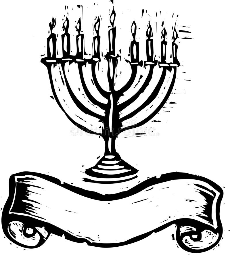 Hanukkah Menorah with Banner stock illustration
