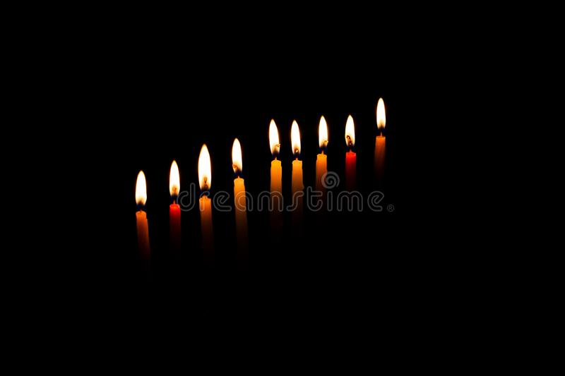 Hanukkah menorah with burning candles. Jewish holiday, Holiday symbol stock photo