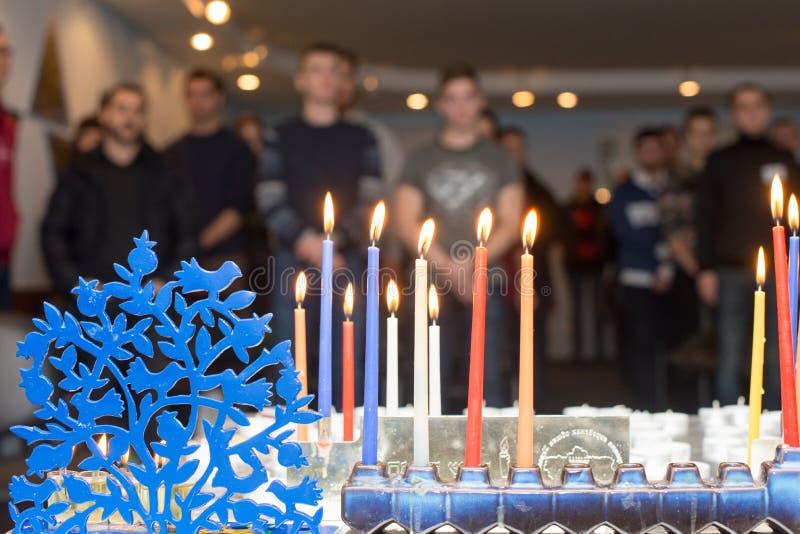 Hanukkah Menorah Chanukiah foto de archivo