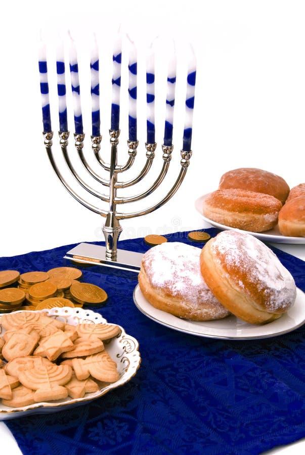 Hanukkah Menorah,  Donuts And Coins Royalty Free Stock Photos