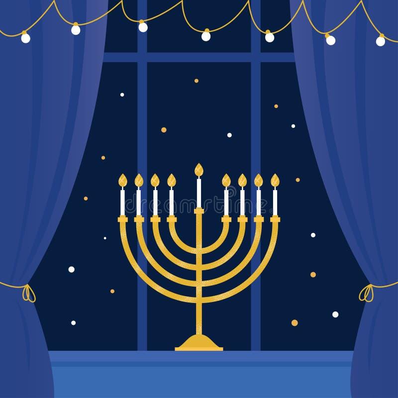 Hanukkah Menorah e janela da sala Ilustração do vetor ilustração stock