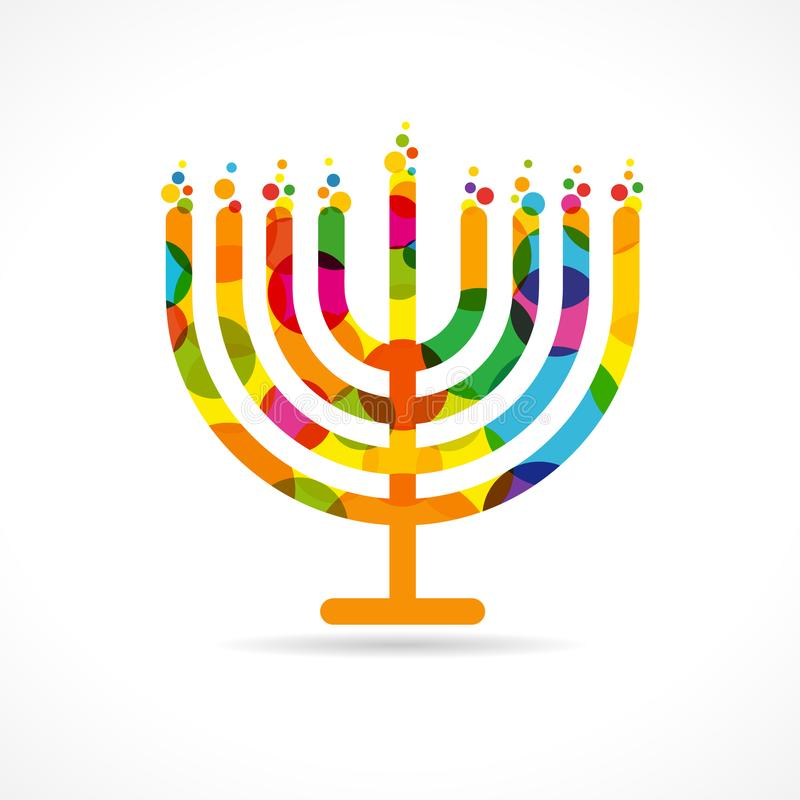 hanukkah menorah emblem colored stock vector illustration of rh dreamstime com Temple Menorah On the Lamps in Front of the Menorah Lamp Stand