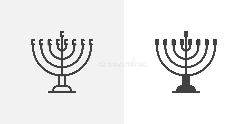 Hanukkah menorah ikona royalty ilustracja