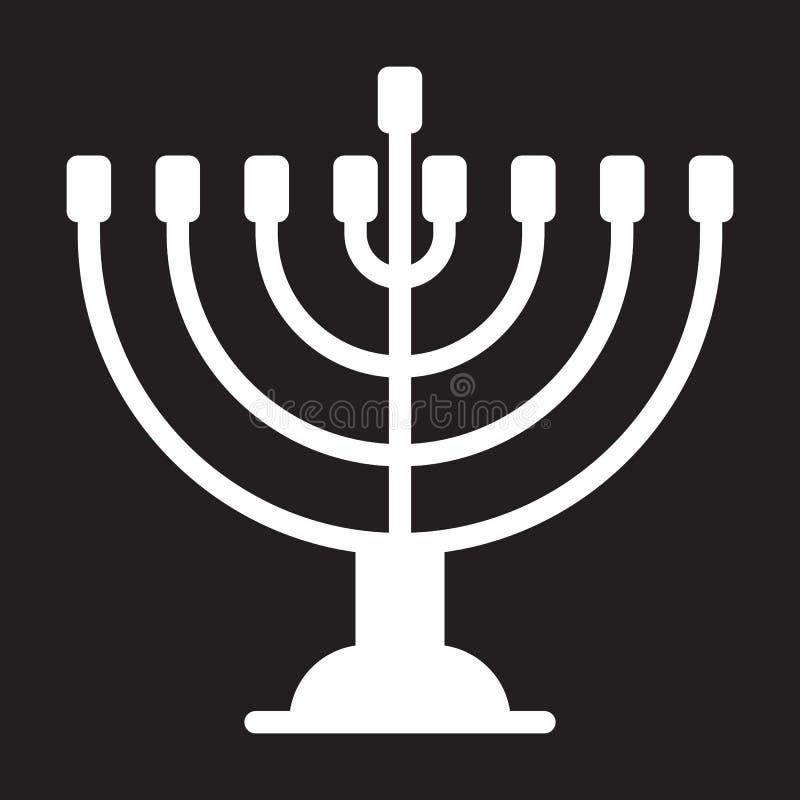 Hanukkah menorah ikona, wektorowa ilustracja
