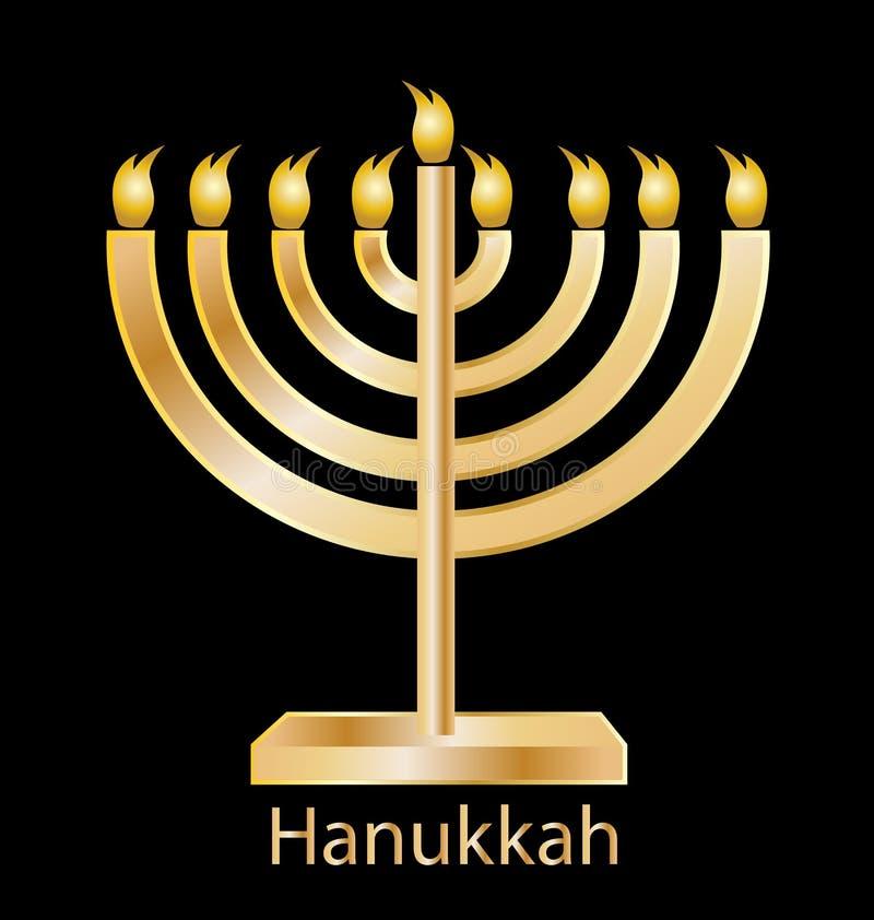 Hanukkah menorah ikony złocisty wektor royalty ilustracja