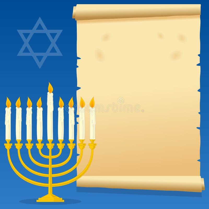 Hanukkah Menorah and Old Parchment stock illustration