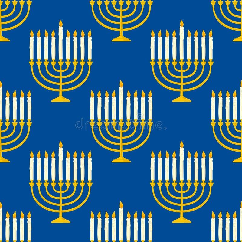 Hanukkah Menorah Seamless Pattern stock illustration