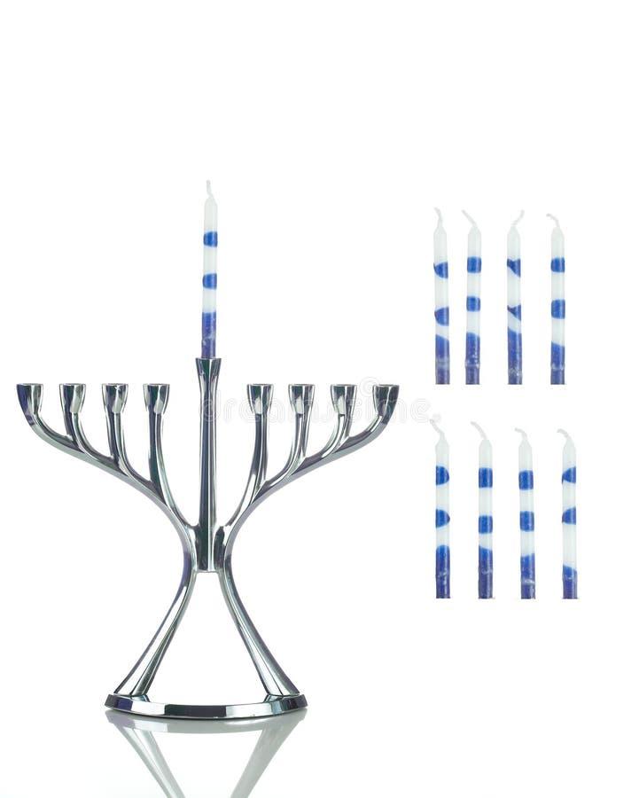 Hanukkah: Menorah z Oddzielnymi świeczkami Popierać kogoś zdjęcia stock