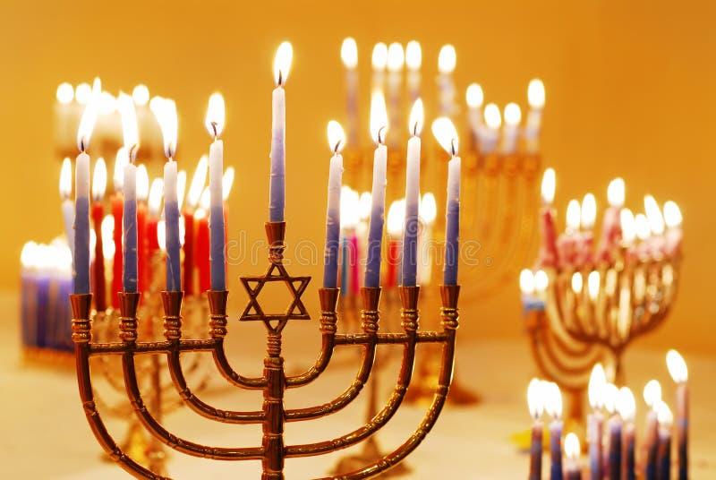 hanukkah menorahs obrazy stock