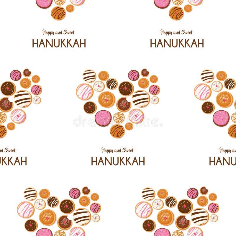 Hanukkah pączek, Żydowski wakacyjny symbol słodki tradycyjny piec bezszwowy wzoru ilustracji