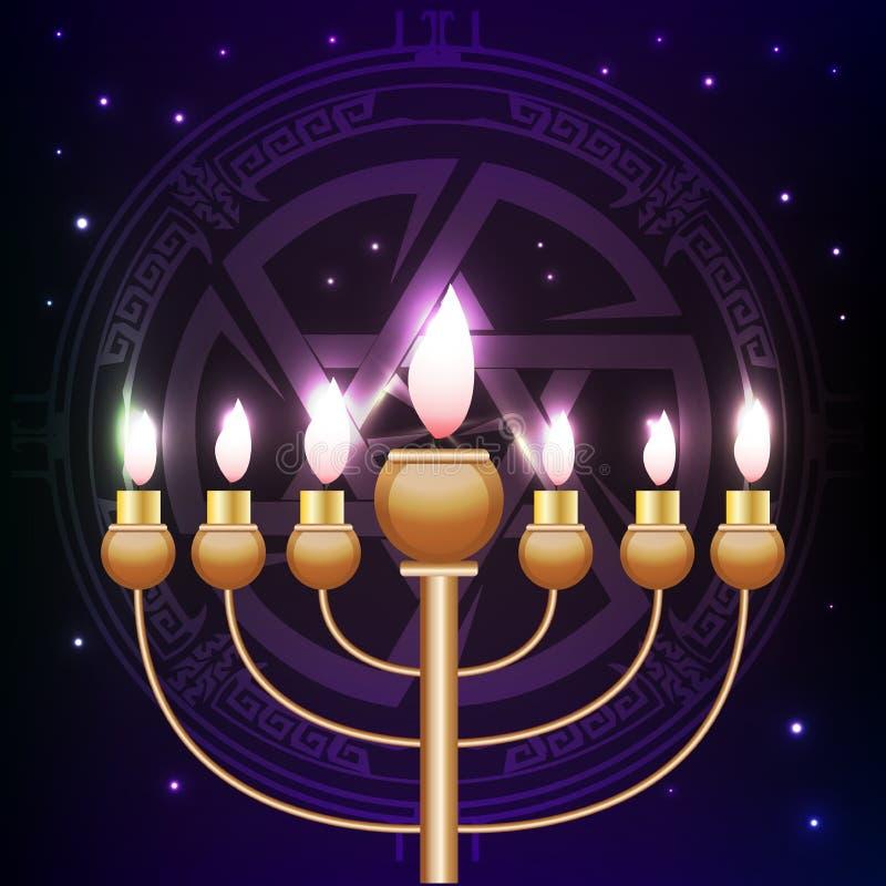 hanukkah roxo com menorah e o pictograma dourados Magen David no fundo Decoração festiva do partido ilustração stock