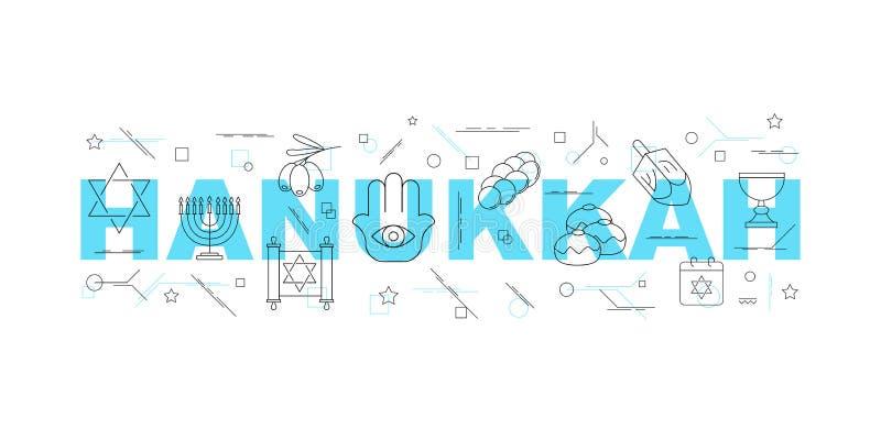 Hanukkah słowo z kreskową ikoną liniowy wektoru wzór ilustracji