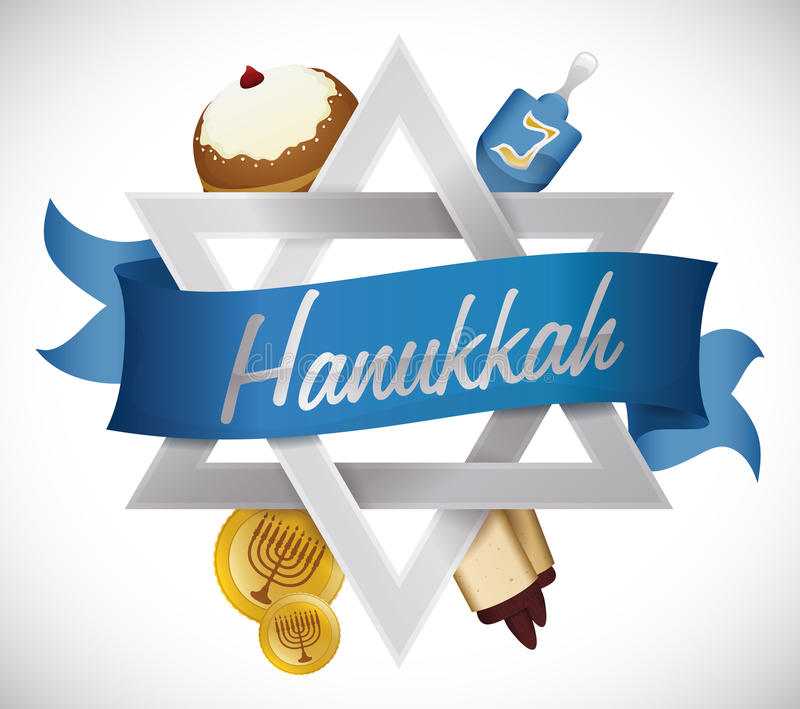 Hanukkah's Elements around David's Star, Vector Illustration royalty free stock images