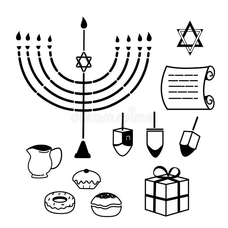 hanukkah Set tradycyjni atrybuty menorah, dreidel, świeczki, oliwa z oliwek, Torah, donuts Kreskowe ikony ilustracji