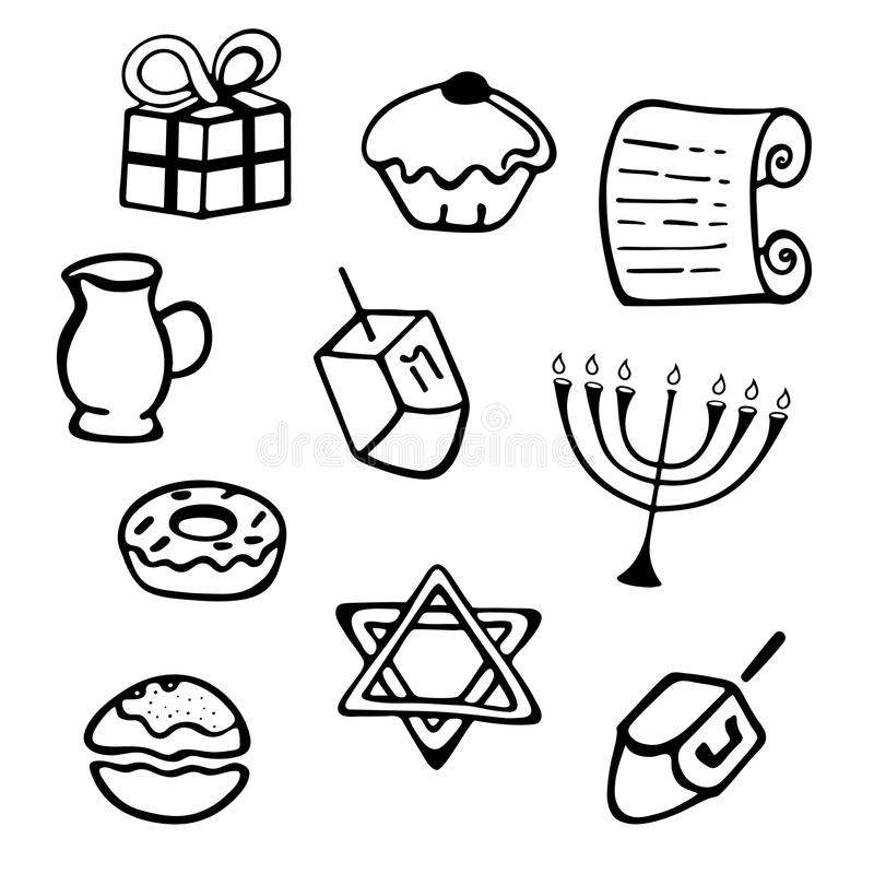 hanukkah Set tradycyjni atrybuty menorah, dreidel, świeczki, oliwa z oliwek, Torah, donuts w doodle projektuje