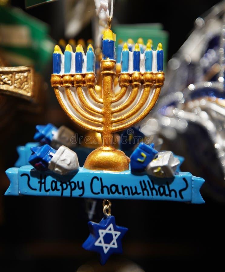 Hanukkah sneed kerstversieringen aan in Manhattan stock fotografie