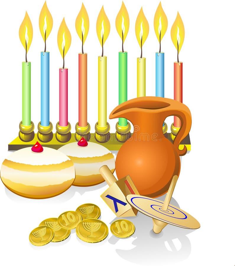 Hanukkah stearinljus, donuts, oljepitc stock illustrationer