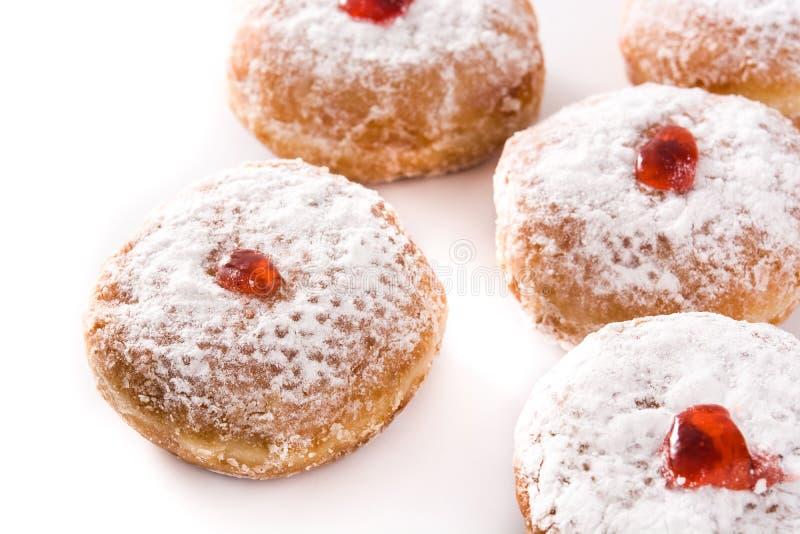 Hanukkah sufganiyot. Traditional Jewish donuts for Hanukkah. royalty free stock image