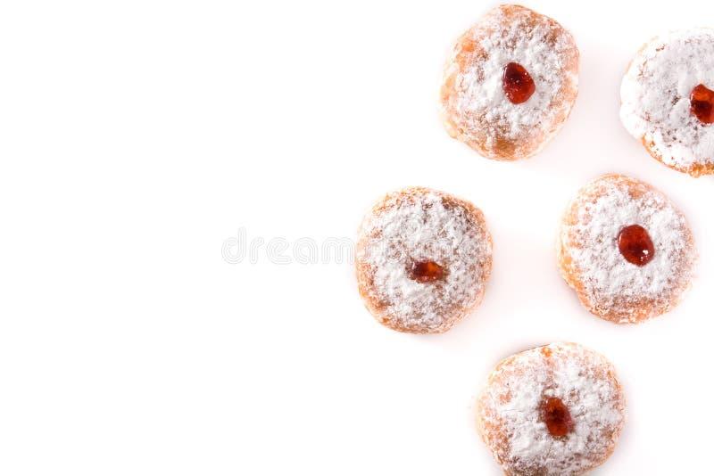 Hanukkah sufganiyot. Traditional Jewish donuts for Hanukkah. stock photos