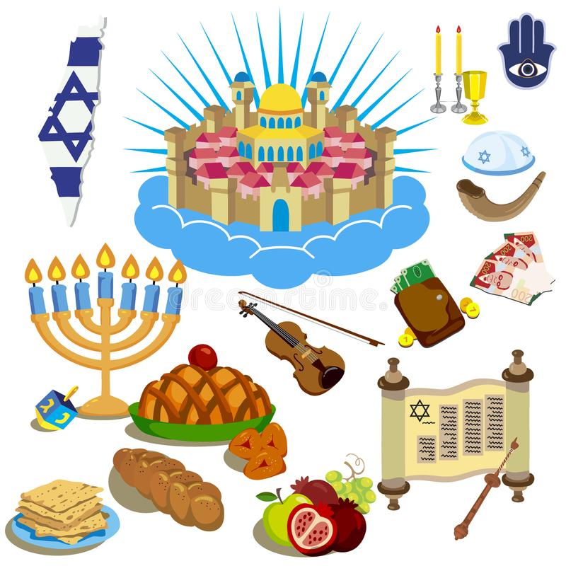 Hanukkah symbole Ikony w kreskówka stylu ilustracja wektor